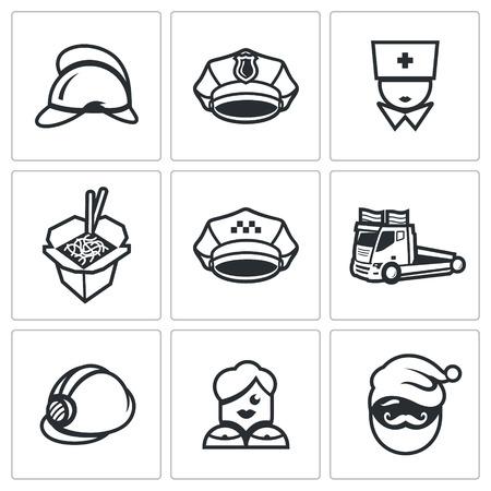 evacuation: Helmet, Cap, Nurse, Chinese noodles, Car evacuation, Woman, Santa. Illustration