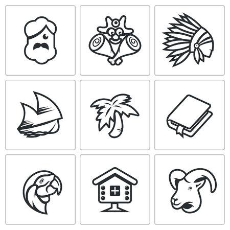 Man, Savage, Redskin, Ship, Tree, Book, Bird, House, Animal