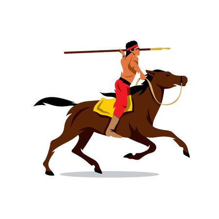 spearman: Rider preparing to throw javelin. Isolated on white background Illustration