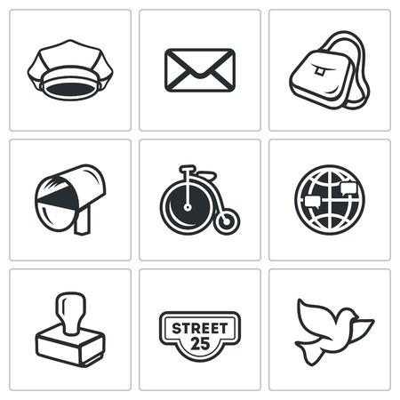 carrier pigeons: Cap, Envelope, Bag, Mailbox, Bicycle, Globe, Stamp, Address label, Bird Illustration