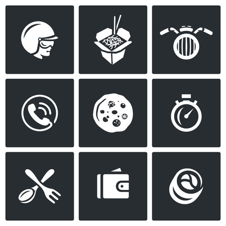 motorcyclist: Motorcyclist, Chinese Noodle, Scooter, Telephone, Flapjack, Stopwatch, Spoon, Fork, Purse, Roll Illustration
