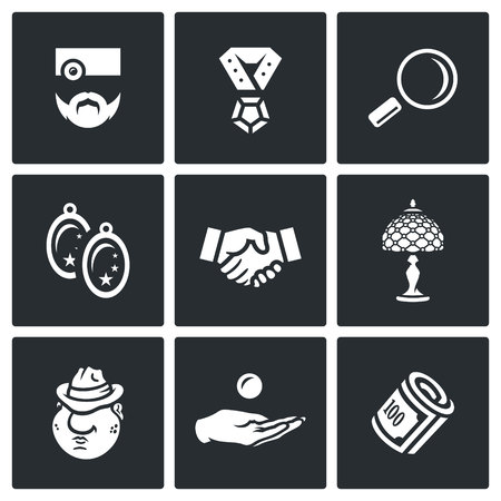 borrower: Pawnbroker, Pendant, Loop, Earrings, Handshake, Lamp, Mafiosi, Compensation, Finance Illustration