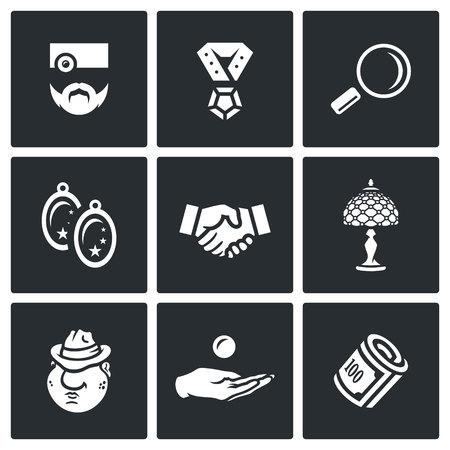 Pawnbroker, Pendant, Loop, Earrings, Handshake, Lamp, Mafiosi, Compensation, Finance Illustration