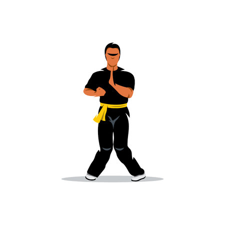 self  defense: Man work out fighting skills. Isolated on a white background