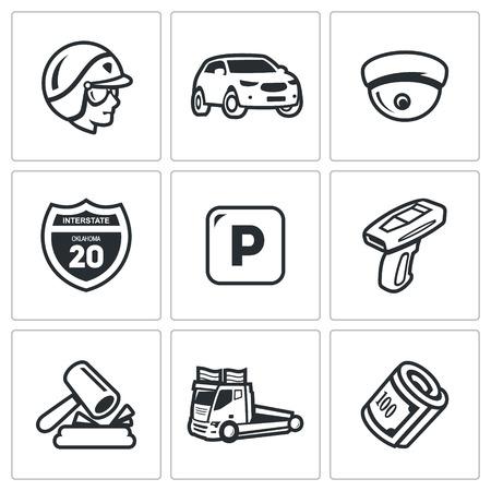 fixation: Policeman, Transport, Video recording, Road sign, Stop, Radar, Court, Tow, Money Illustration