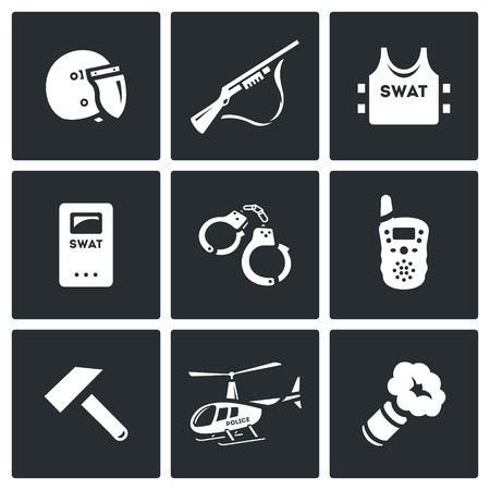 unlawful act: Helmet, Shotgun, Body Armor, Shield, Handcuffs, Radio, Sledgehammer, Helicopter, Smoke Grenade