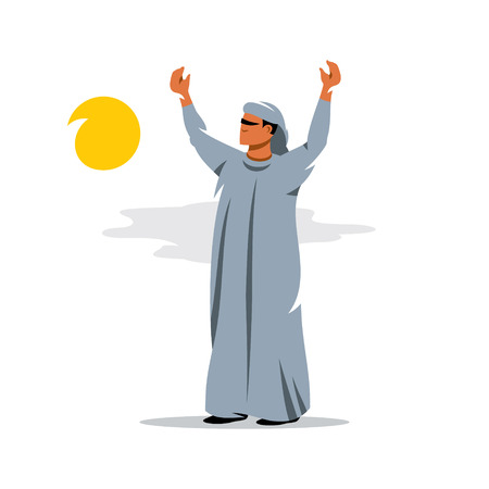 muslim fashion: The man welcomes the start of the day raised his hands to the sky. Isolated on a White Background Illustration
