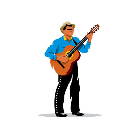street musician: A street musician in traditional clothes and a guitar. Isolated on a white background