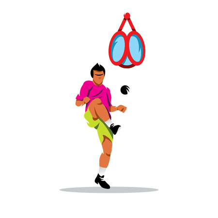 kicks: The athlete kicks the ball in the basket. Isolated on a white background