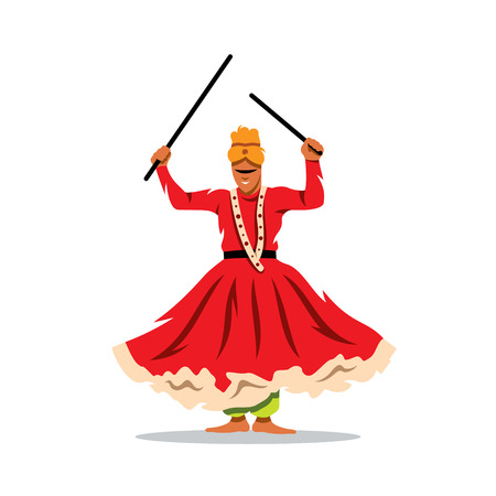 stage costume: Man with sticks in their hands dancing traditional dance in India. Isolated on a white background