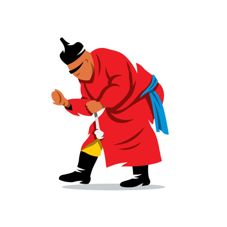 mongol: Man in traditional dress fist break a bone. Isolated on a White Background Illustration