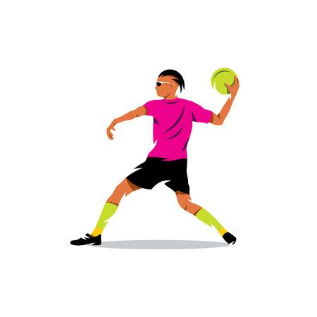 Man preparing to throw the ball into the goal. 免版税图像 - 61583042