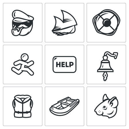 cowardice: Sailor, Sailboat, Lifebuoy, Fugitive, Call, Bell, Clothes, Boat, Mouse Illustration