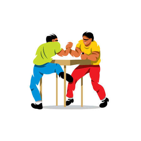 Two people compete for a table. Isolated on a White Background Illustration
