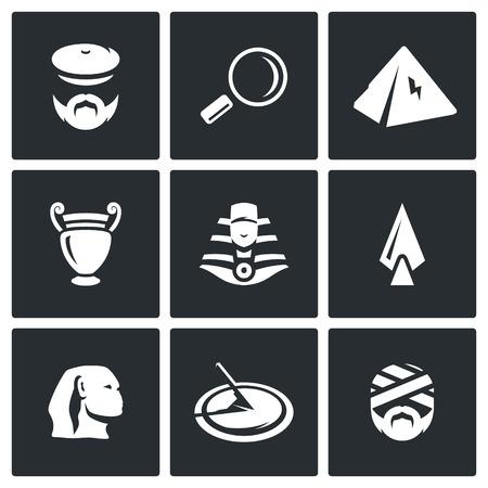 archaeologist: Archaeologist, Magnifier, Pyramid, Amphora, Pharaoh, Spear, Sphinx, Sundial, Mummy Illustration
