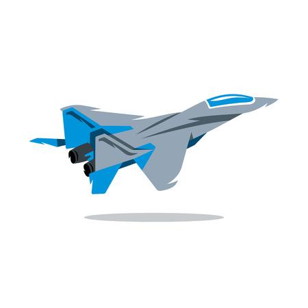 Jet en el cielo. Aislado en un fondo blanco Ilustración de vector