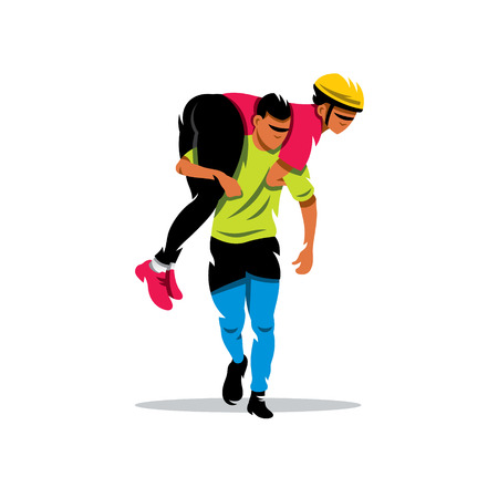 Man carries his girlfriend on his back. Isolated on a white background