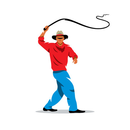 Man swinging rope. Isolated on a white background