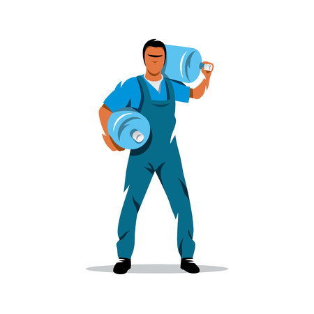 overnight delivery: Cheerful young deliveryman holding a water jug. Isolated on a white background Illustration