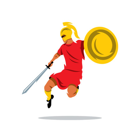 activist: Man with a shield and sword in a jump attack. Isolated on a white background Illustration