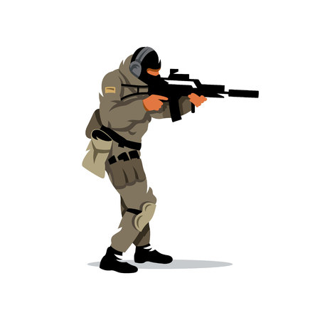 The shooter is moving with a gun. Isolated on a white background Illustration
