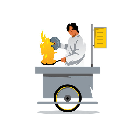 The smiling young asian cook is preparing the tasty pancake on his outdoor mobile street kitchen. Isolated on a white background Illustration
