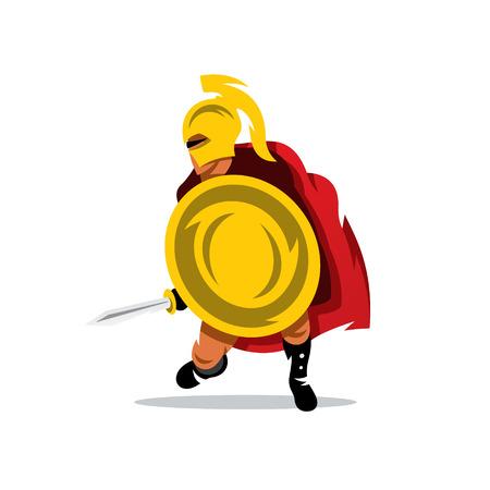 Man met een schild en een zwaard. Geïsoleerd op een witte achtergrond