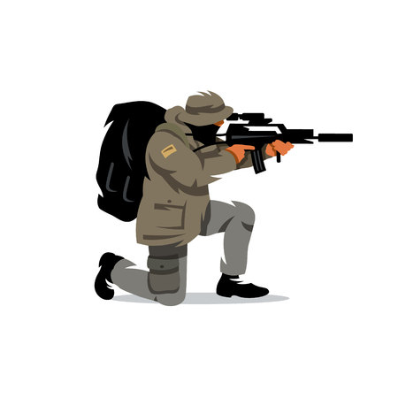 The shooter shoots with a knee. Isolated on a white background