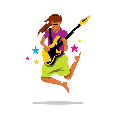 Musician is jumping with guitar. Isolated on a White Background