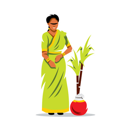 saree: Beautiful Indian woman in traditional saree, holding fresh homemade cookies and sweets for festival. Illustration