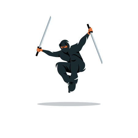 Warrior in black dress blade strikes in a jump. Isolated on a White Background Illustration