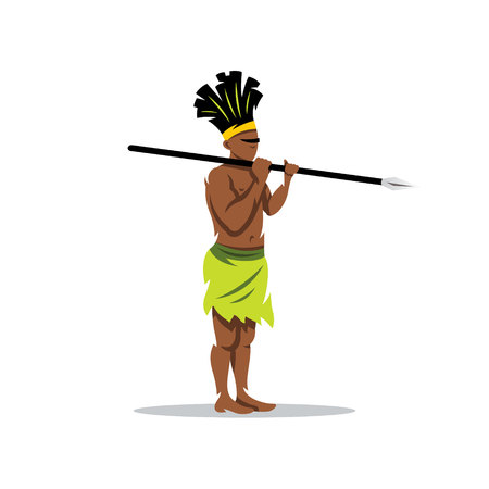 Warrior with spear. Isolated on a white background Illustration