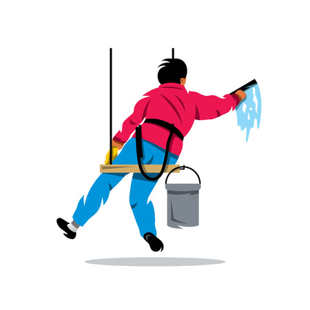 scraper: Man with bucket of water and scraper. Isolated on a White Background