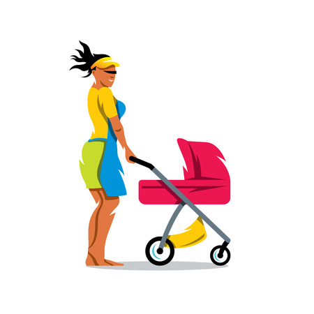 Woman with pram. Isolated on a white background