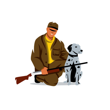 huntsman: Man with gun and greyhound. Isolated on a white background Illustration