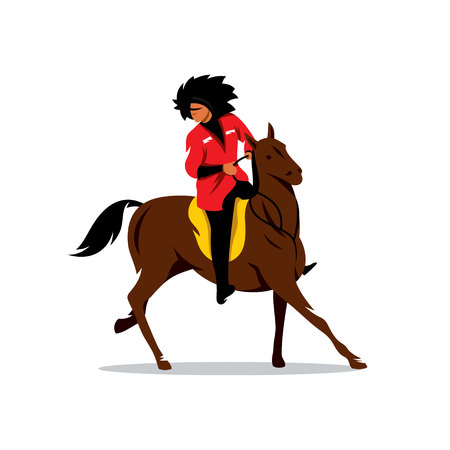 white fur: Man in white fur hat and a red dress on a horse. Isolated on a White Background Illustration