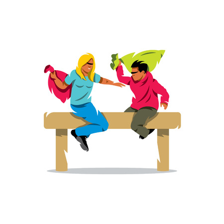 Girl and boy on a wooden beam. Isolated on a white background Illustration