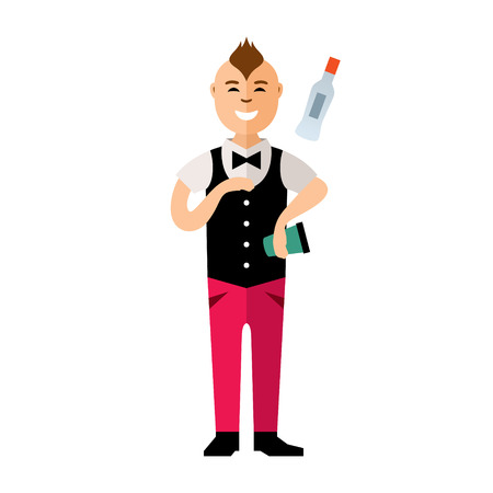 Man juggling bottle and shaker. Isolated on a White Background Illustration