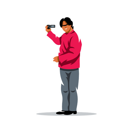 Man holding a camera. Isolated on a white background