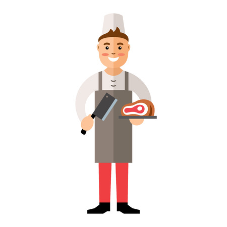 grocer: Friendly man holding knife and meat. Isolated on a white background