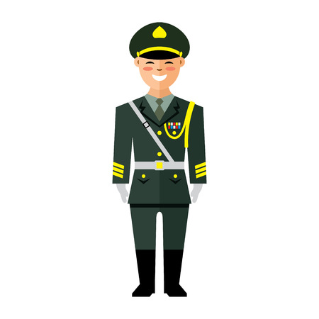 paramilitary: Soldier in uniform. Isolated on a white background Illustration