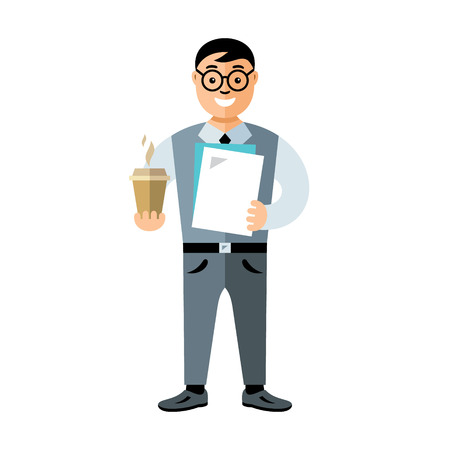 Businessman holding hot drink and folder. Isolated over white background