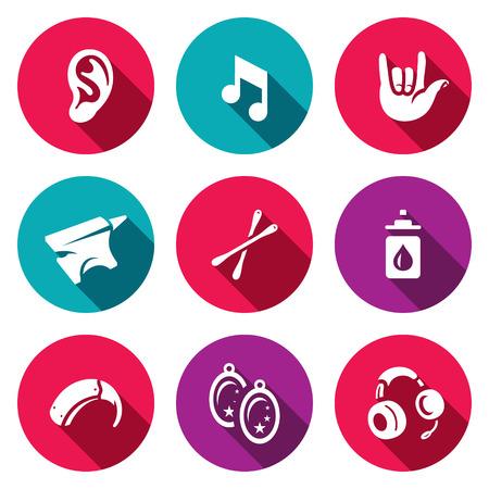 ent: Problem, equipment, medicine jewelry and communication deaf Illustration