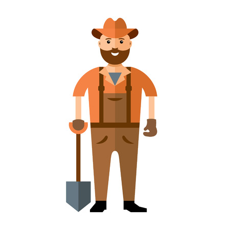 Happy gardener in dungarees. Isolated on a white background Illustration