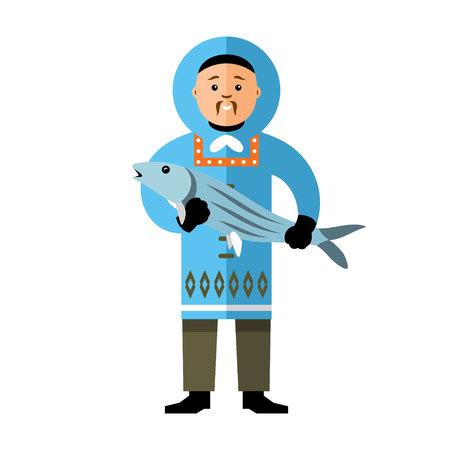 esquimales: Polo Norte el hombre y la pesca. Aislado en un fondo blanco