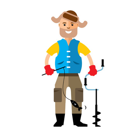 Ice fisherman with spinning and drill. Isolated on a white background Illustration