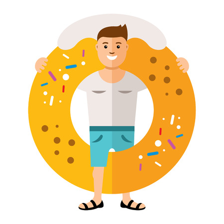 Man with a big sweet bagel. Isolated on a white background