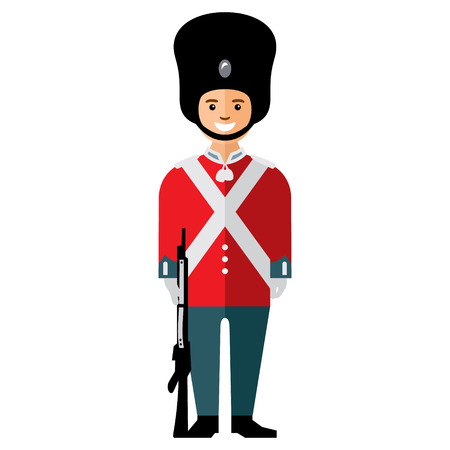 beefeater: Soldier with the weapon in a big fur hat. Isolated on white background