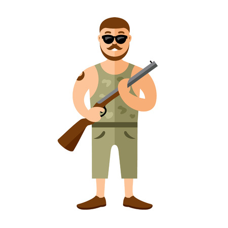 gunman: Man with a gun. Isolated on white background