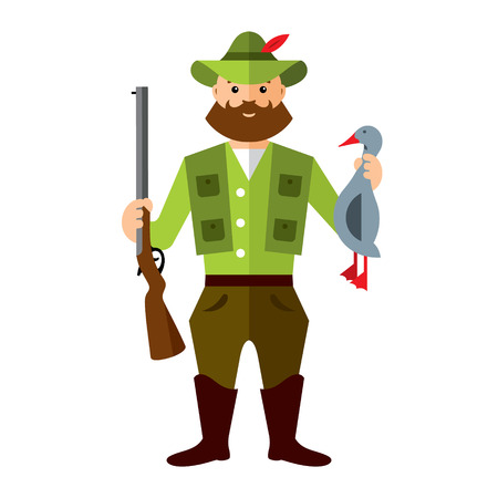 huntsman: Hunter with a rifle and loot. Isolated on a white background Illustration